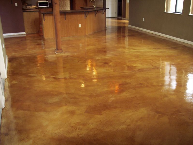 Dark Stained Concrete Floors In Kitchen